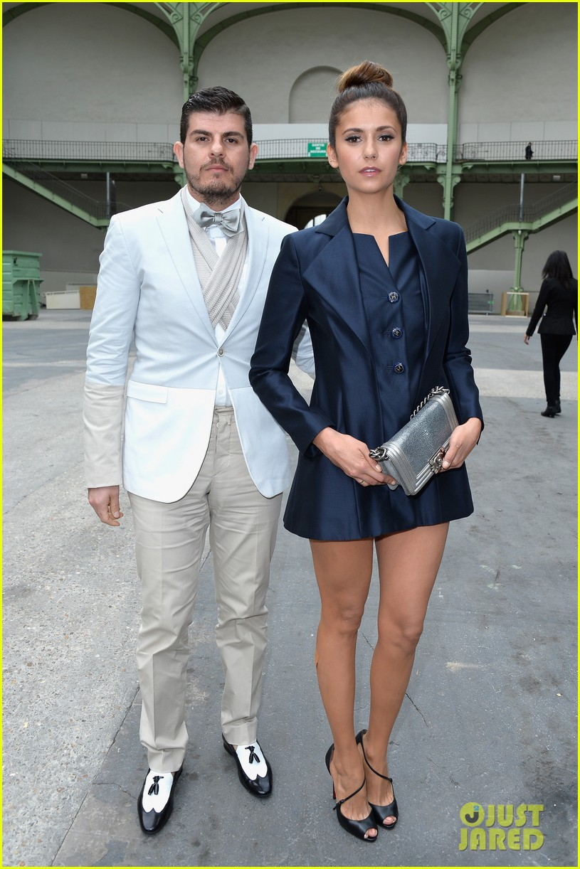 nina dobrev lily collins join jared leto at chanel fashion show 03
