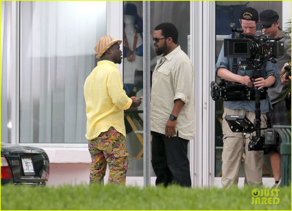 kevin hart begins filming ride along 2 with ice cube in miami 06