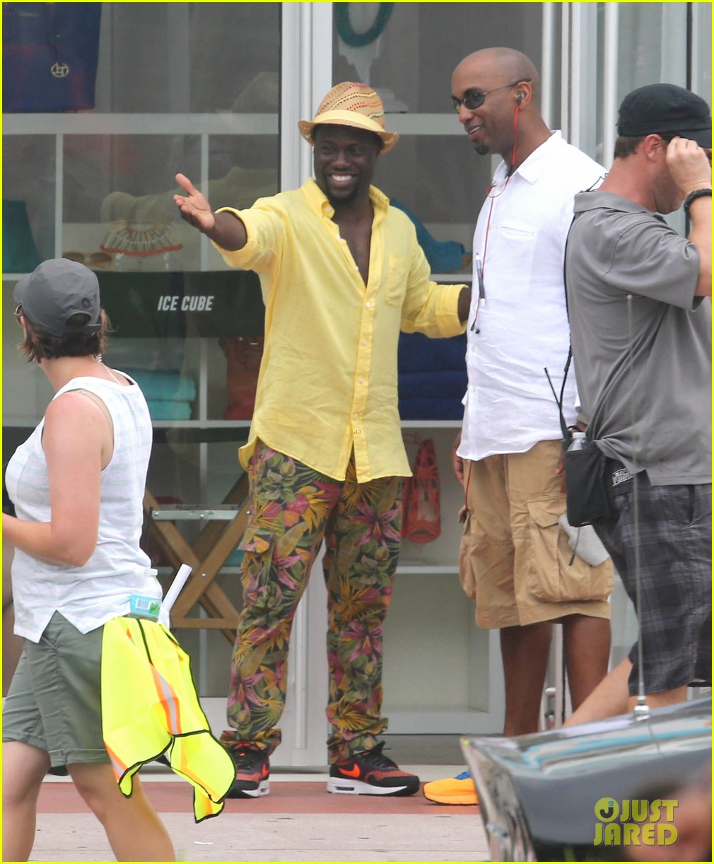 kevin hart begins filming ride along 2 with ice cube in miami 11
