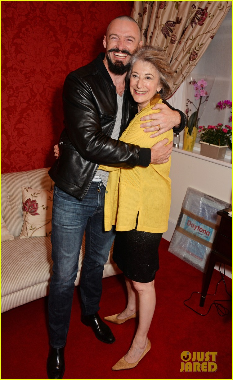 hugh jackman wraps his arms around co star maureen lipman 01