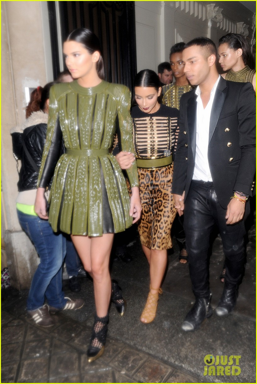 kim kardashian kendall jenner balmain paris fashion week 08