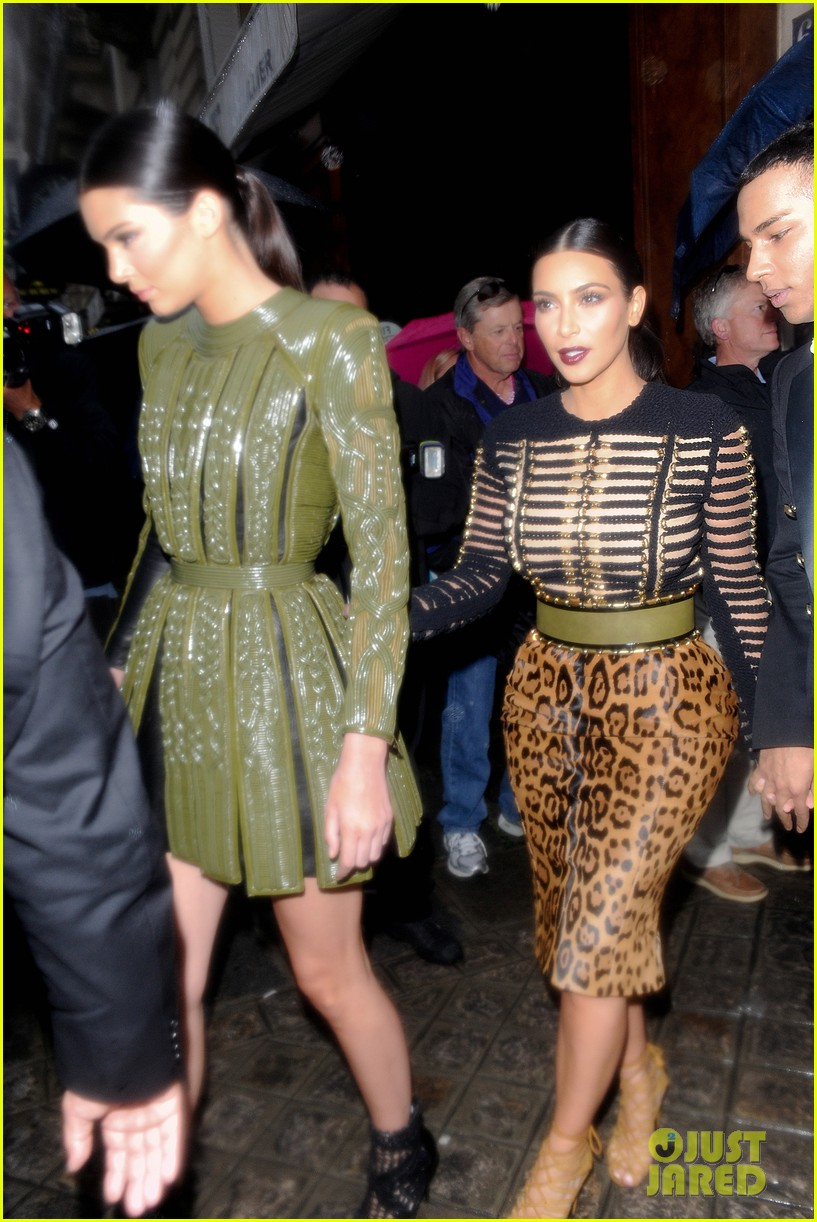 kim kardashian kendall jenner balmain paris fashion week 14