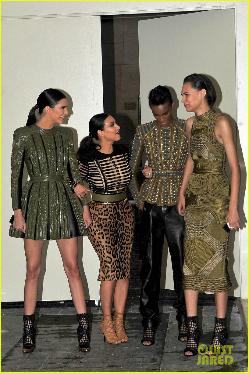 kim kardashian kendall jenner balmain paris fashion week 183152461