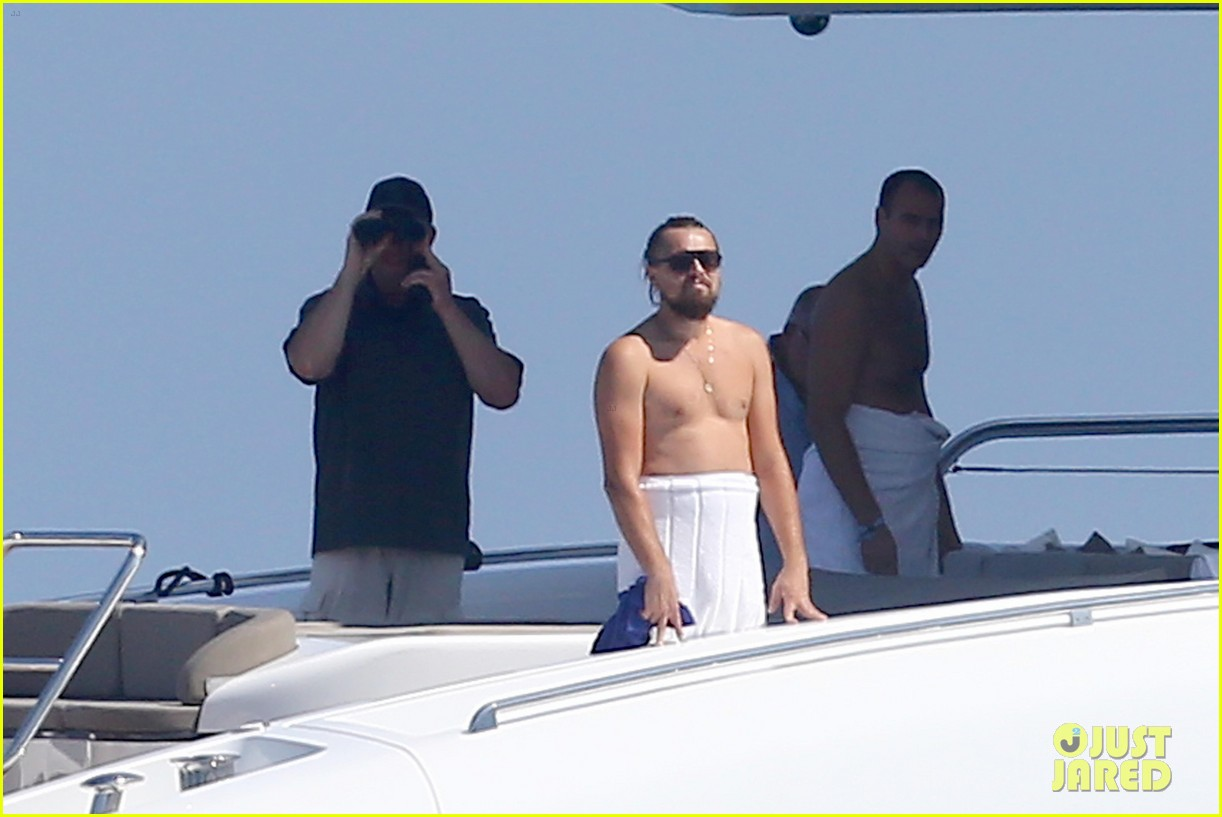 leonardo dicaprio goes shirtless with toni garrn for relaxing yacht day 02