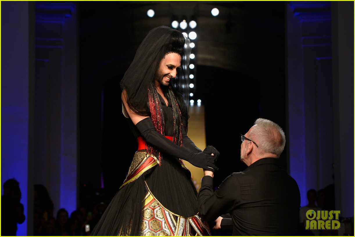 bearded drag queen conchita wurst walks jean paul gualtier show runway 01