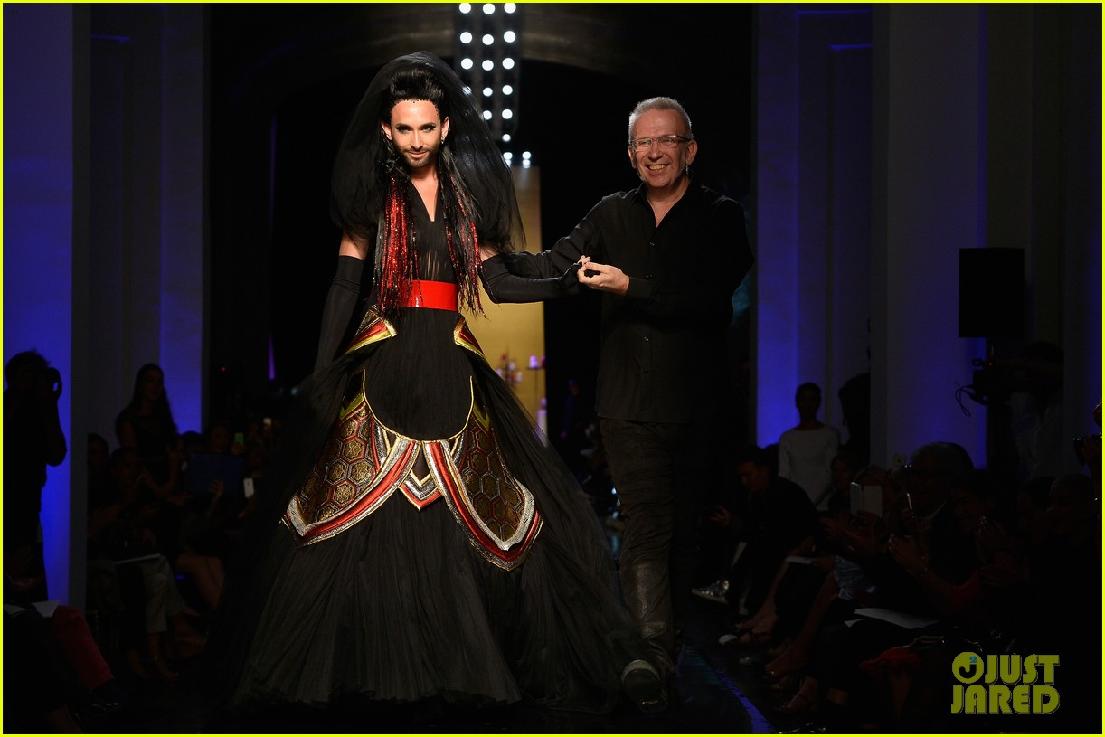bearded drag queen conchita wurst walks jean paul gualtier show runway 02