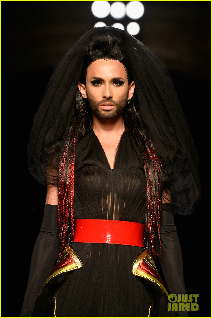 bearded drag queen conchita wurst walks jean paul gualtier show runway 053152318