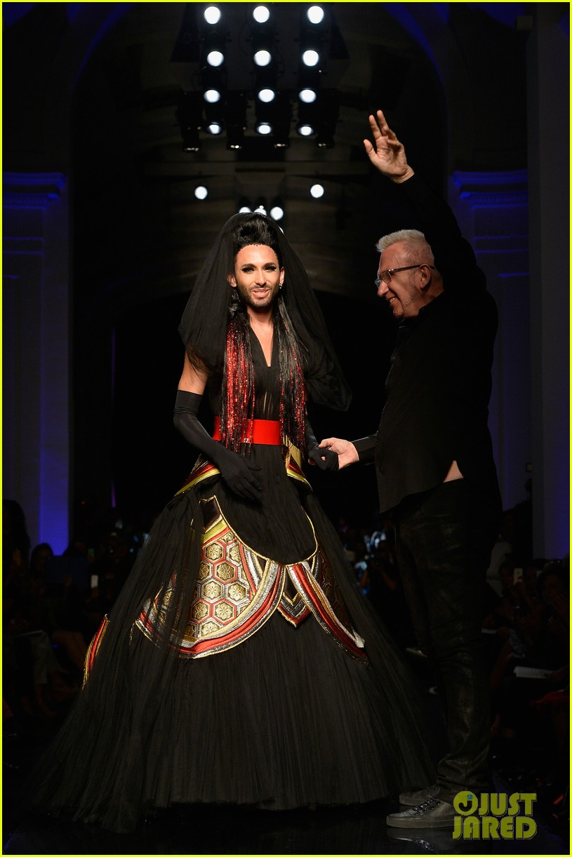 bearded drag queen conchita wurst walks jean paul gualtier show runway 07