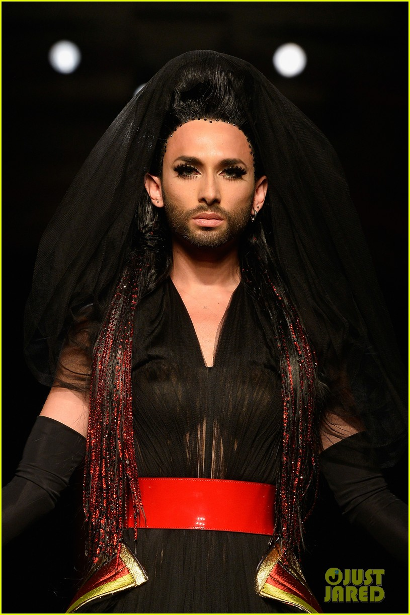 bearded drag queen conchita wurst walks jean paul gualtier show runway 113152324