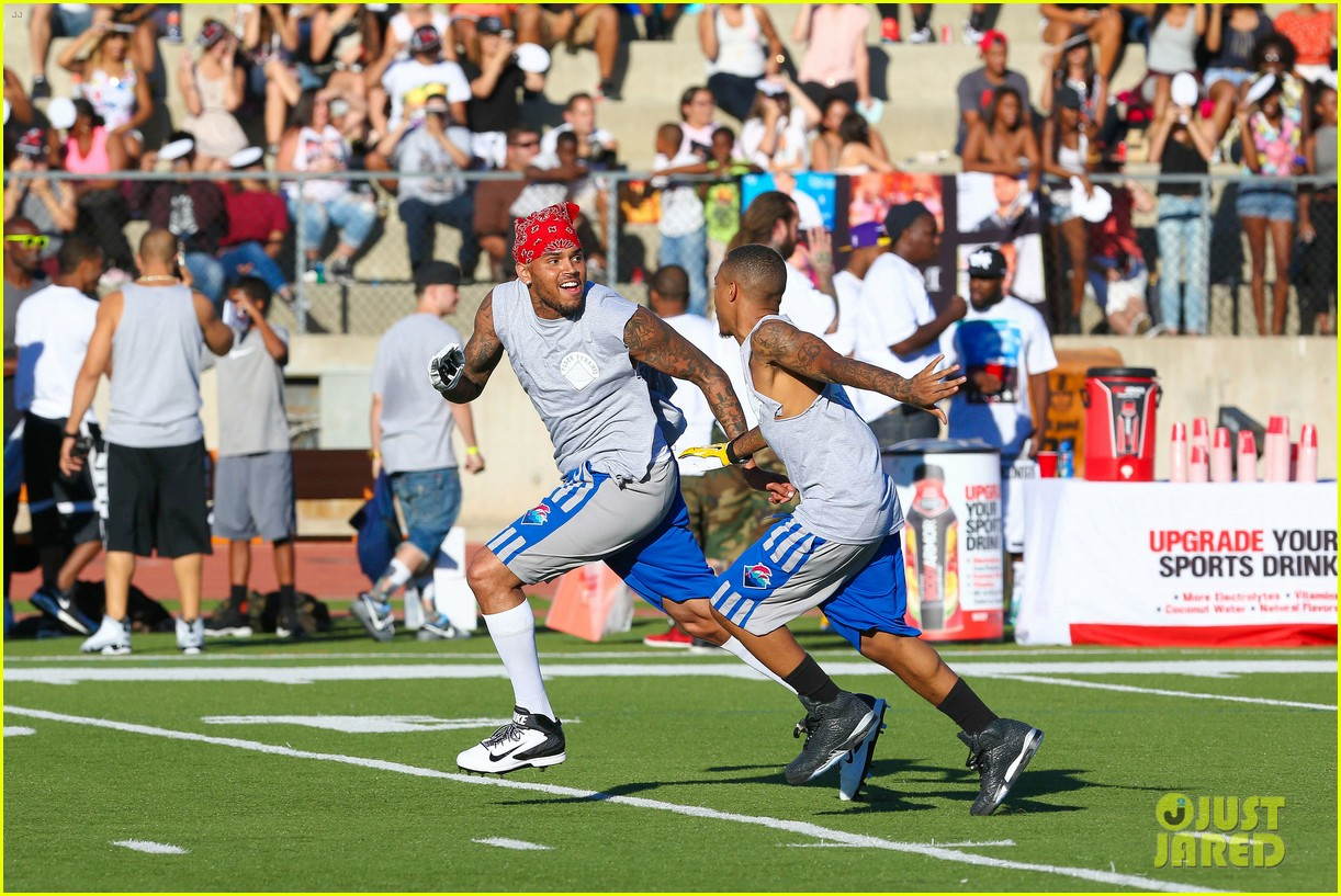 chris brown karrueche tran celebrity flag football game 103177900