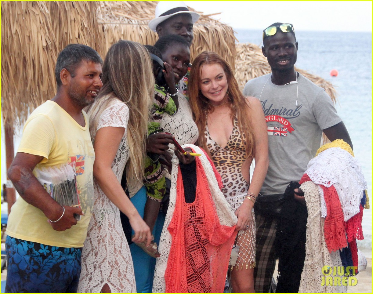 lindsay lohan wears sexy leopart swimsuit on vacation 093172265