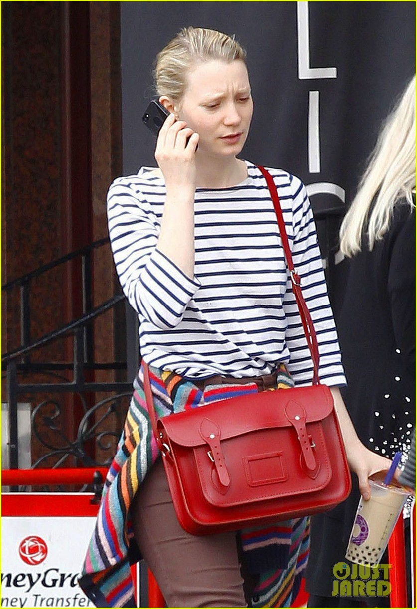mia wasikowska funny phone call london coffee 143184742