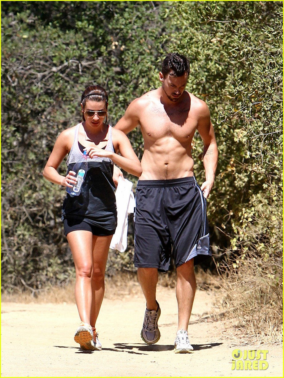 lea michele boyfriend matthew paetz goes shirtless hike 193181842