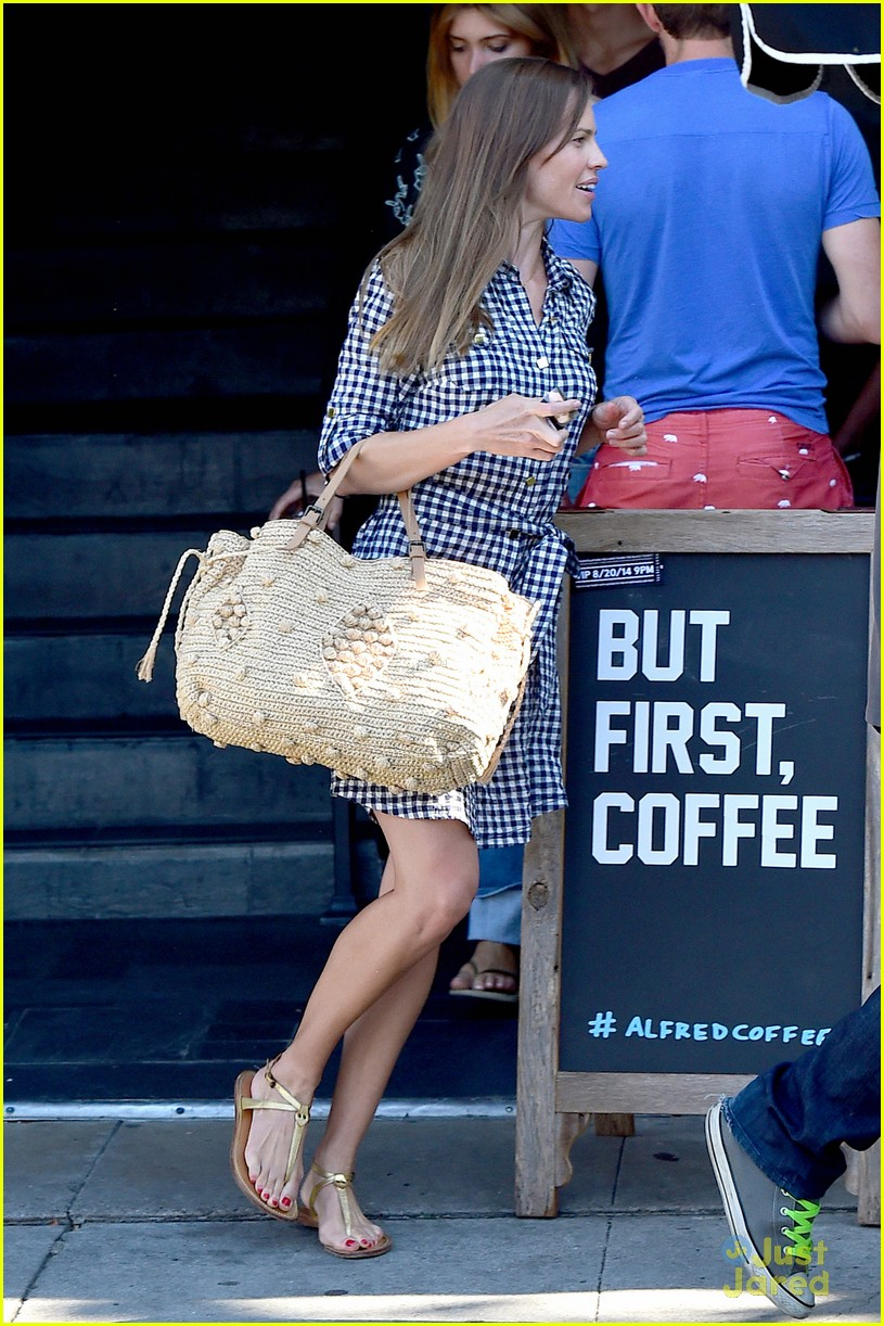 hilary swank laughing after coffee 133179997