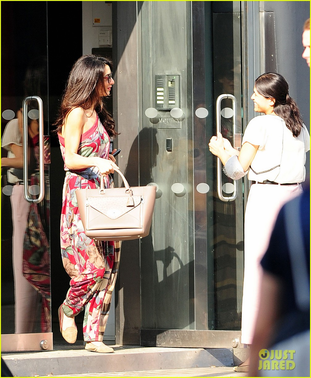 amal alamuddin goes for a fitting at alexander mcqueen 24