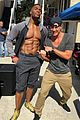 michael strahan six pack abs magic mike set with channing tatum 01