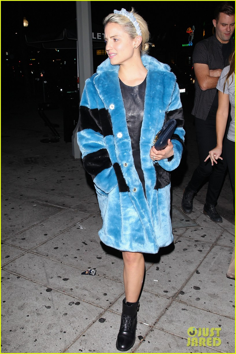 Dianna Agron Makes A Fashion Statement In A Blue Fur Coat