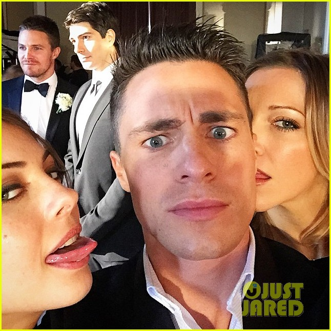 colton haynes emily bett rickards arrow cast wedding set 013293275