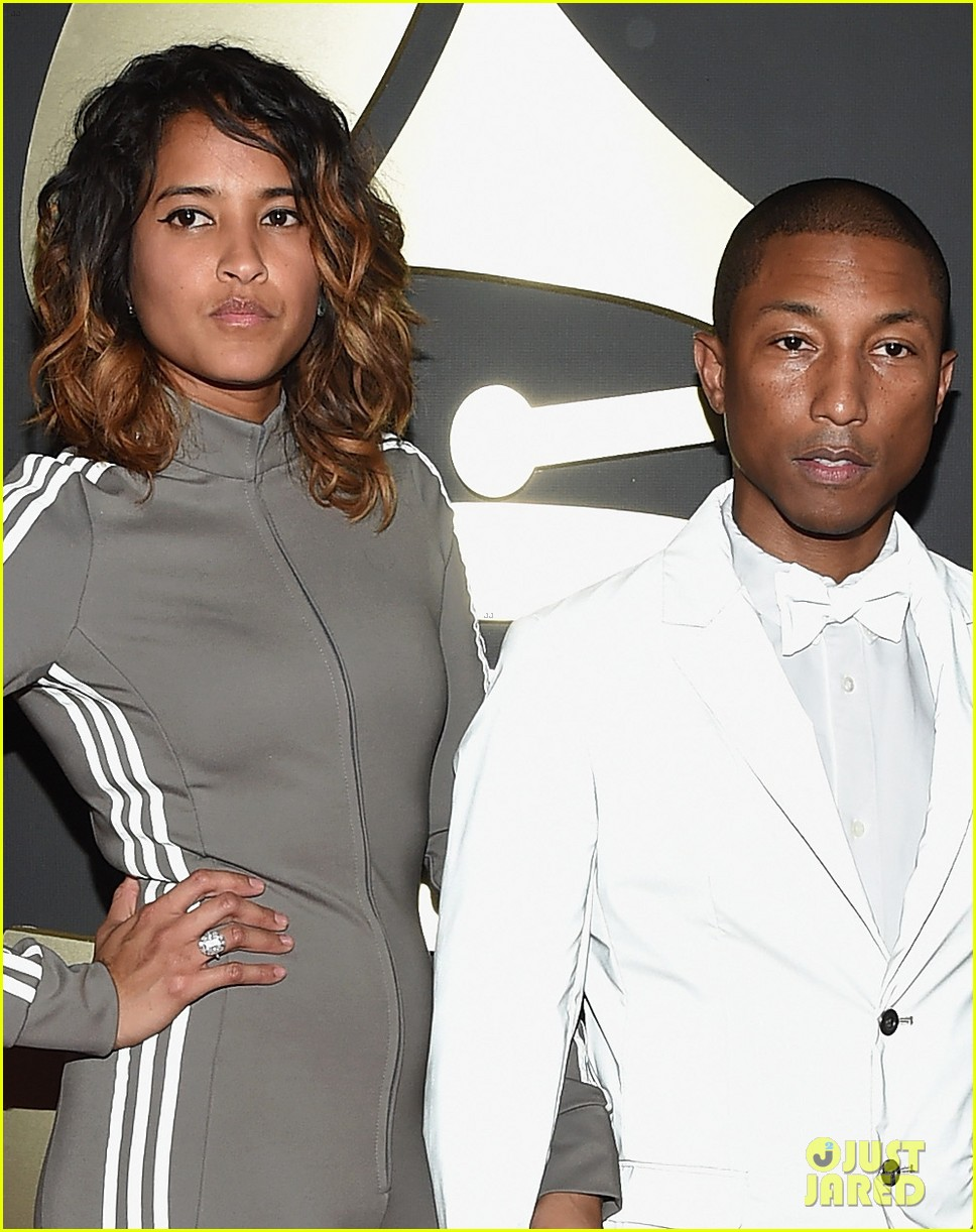 Pharrell Williams  amp  Wife Helen Are  Happy  at Grammys 2015