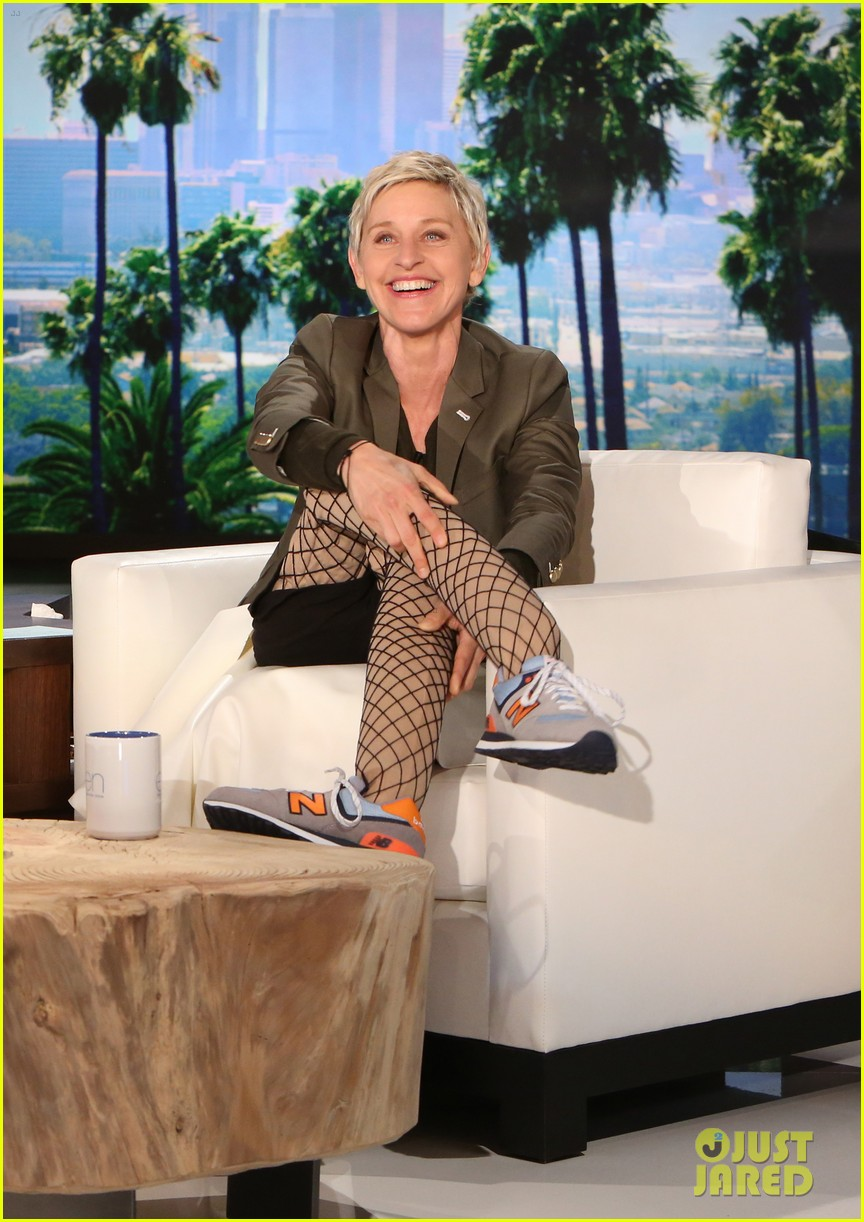 Ellen Degeneres Accepts Madonna S Challenge Wears Fishnet