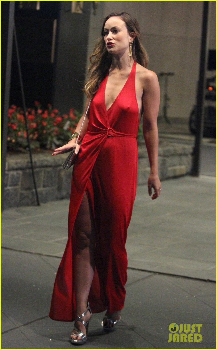 Olivia Wilde vinyl red dress