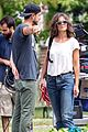 katie holmes greeted with bouquet of flowers on all we had set 16