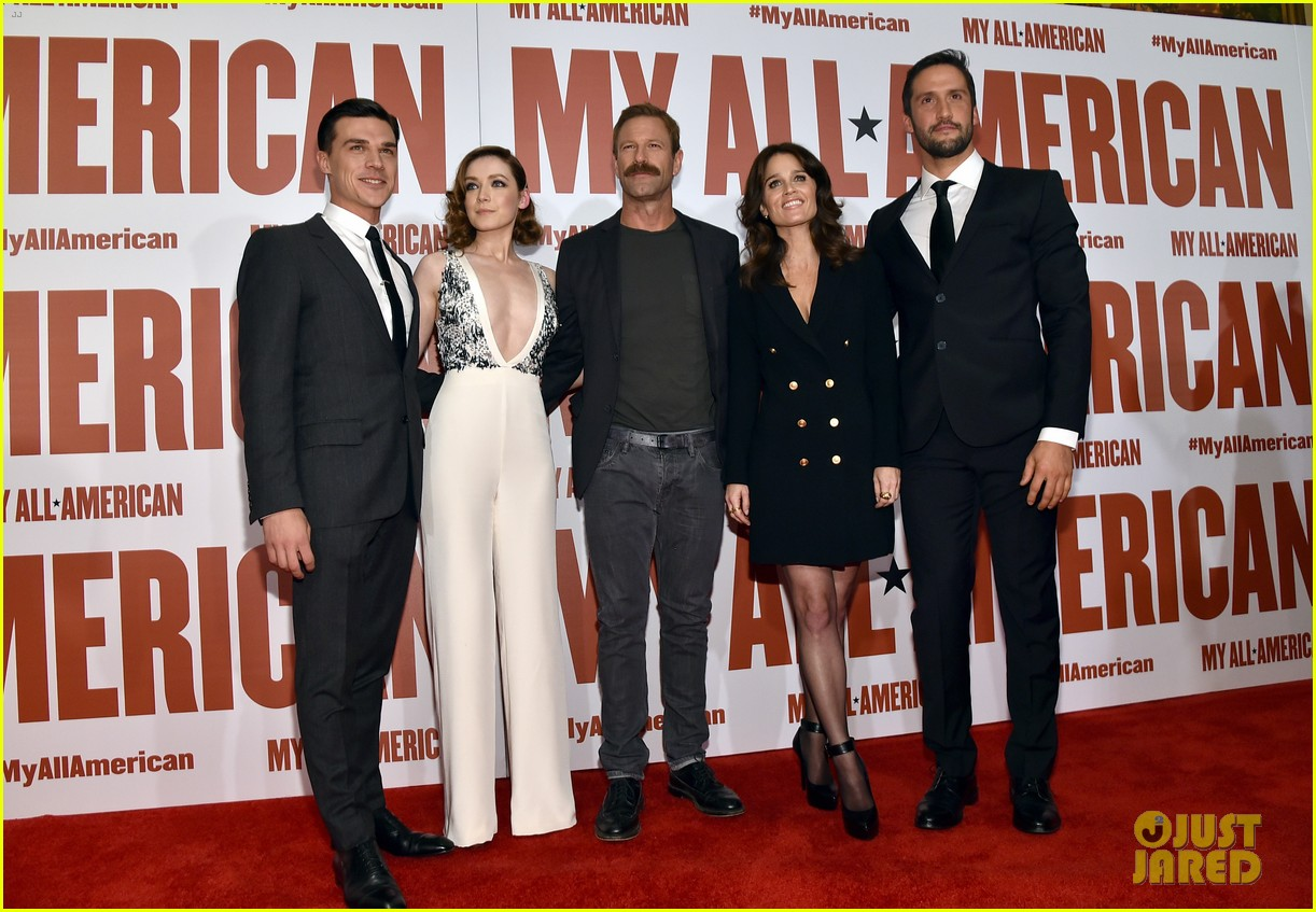 finn wittrock gets support from ahs co stars at my all american premiere 173504817