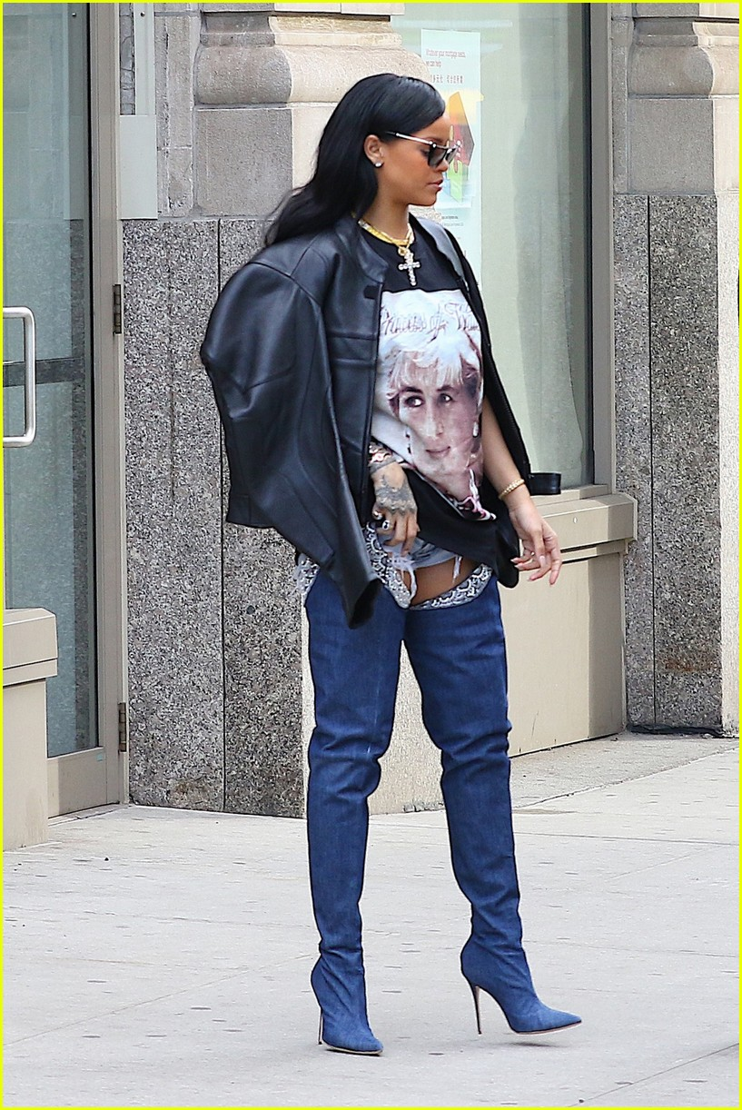 rihanna rocks thigh high denim boots ahead of new jersey