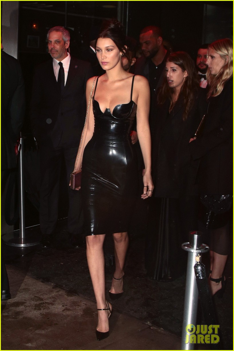 Bella Hadid Sports Sexy Latex Dress For Met Gala 2016