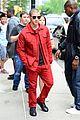 nick jonas red suit aol build appearance 16