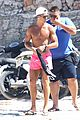 cristiano ronaldo wears brace on injured knee at the beach 07
