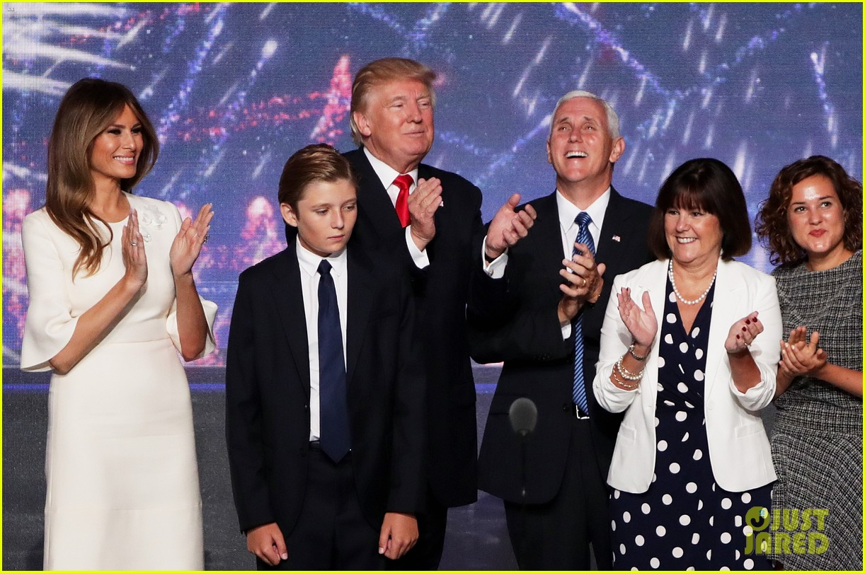 Donald Trump's Wife Melania, Son Barron, & Full Family Join Him On Stage After RNC Speech