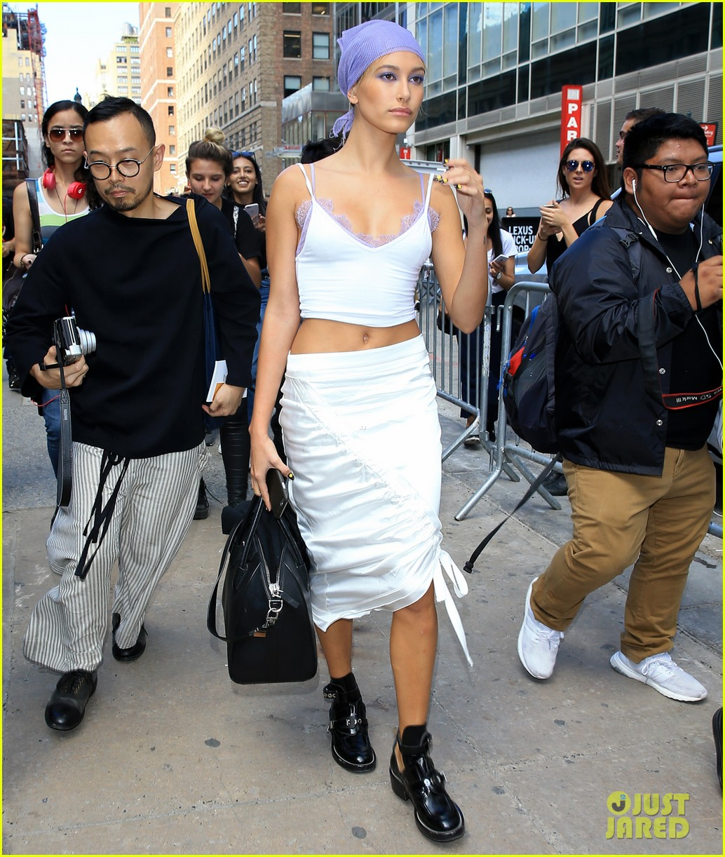 hailey baldwin walks jeremy scott prabal gurung 273757536