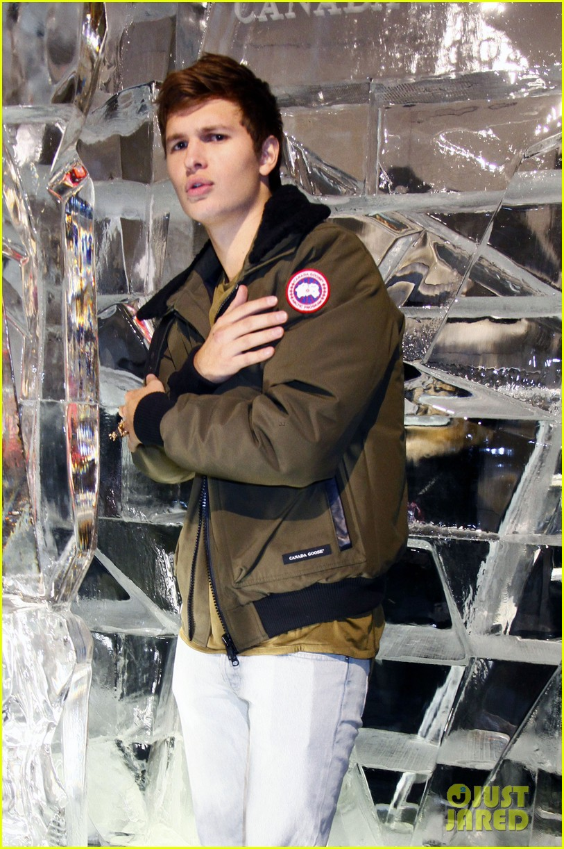 ansel elgort canadian goose launch nyc 013810844