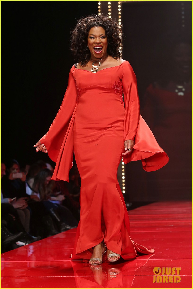 katie holmes models marchesa in red dress show for nyfw 073856470