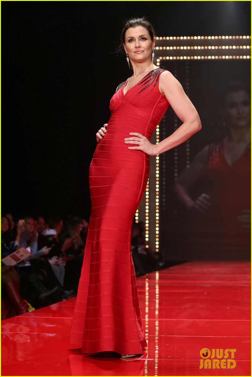 katie holmes models marchesa in red dress show for nyfw 103856473