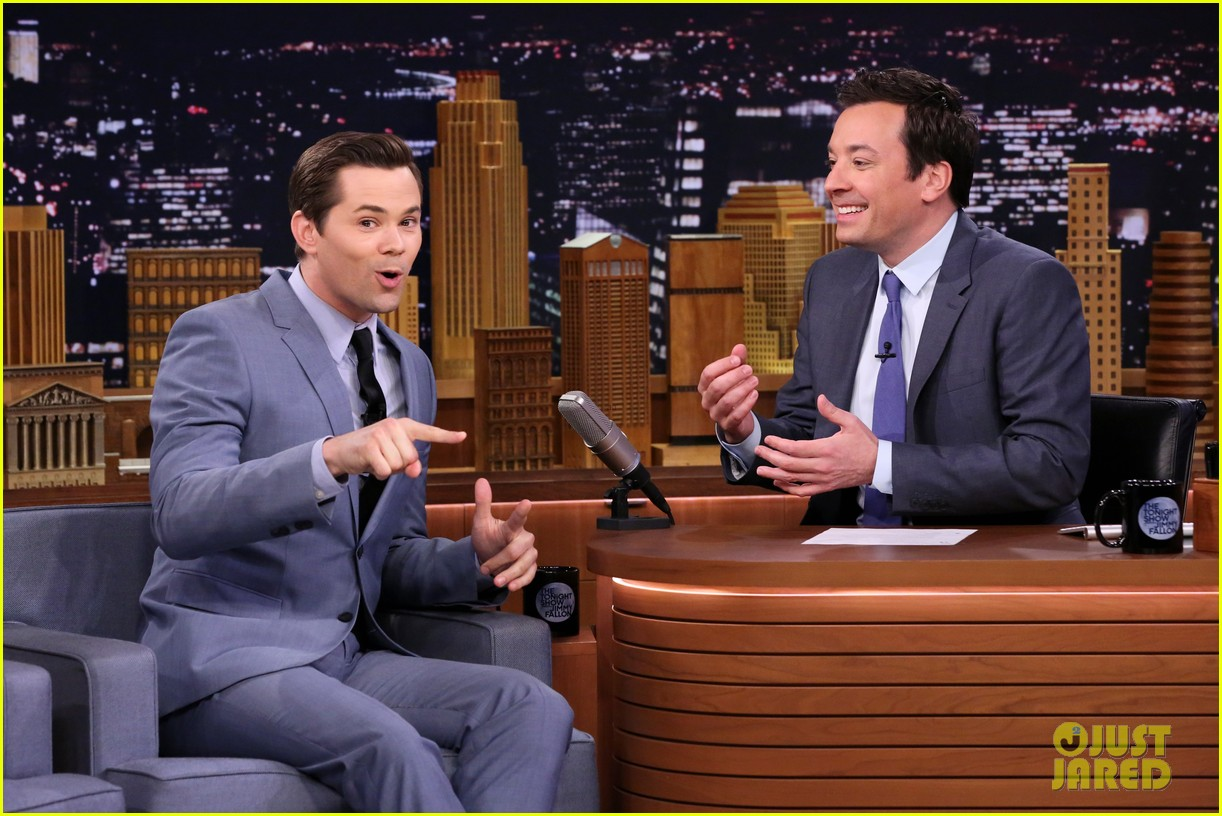 katie holmes andrew rannells face off on the tonight shows pup quiz 053880188