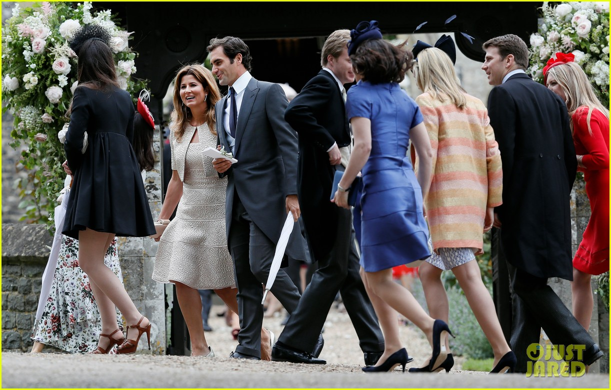 roger federer suits up for pippa middletons wedding with wife mirka