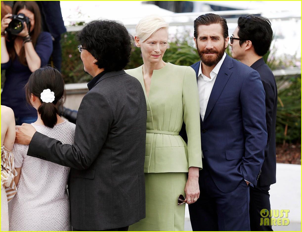 jake gyllenhaal tilda swinton lily collins debut okja at cannes film fest 243901378