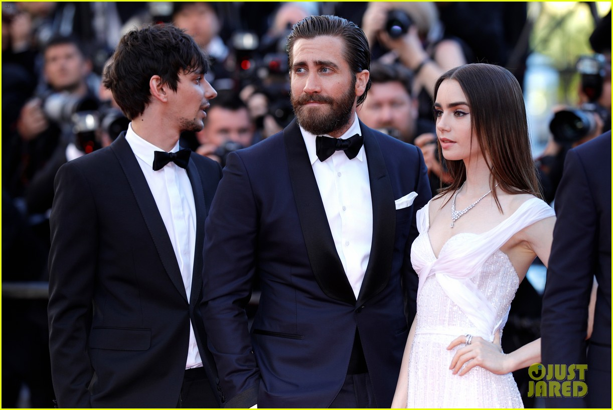jake gyllenhaal tilda swinton lily collins switch it up for okja cannes premiere 033901557