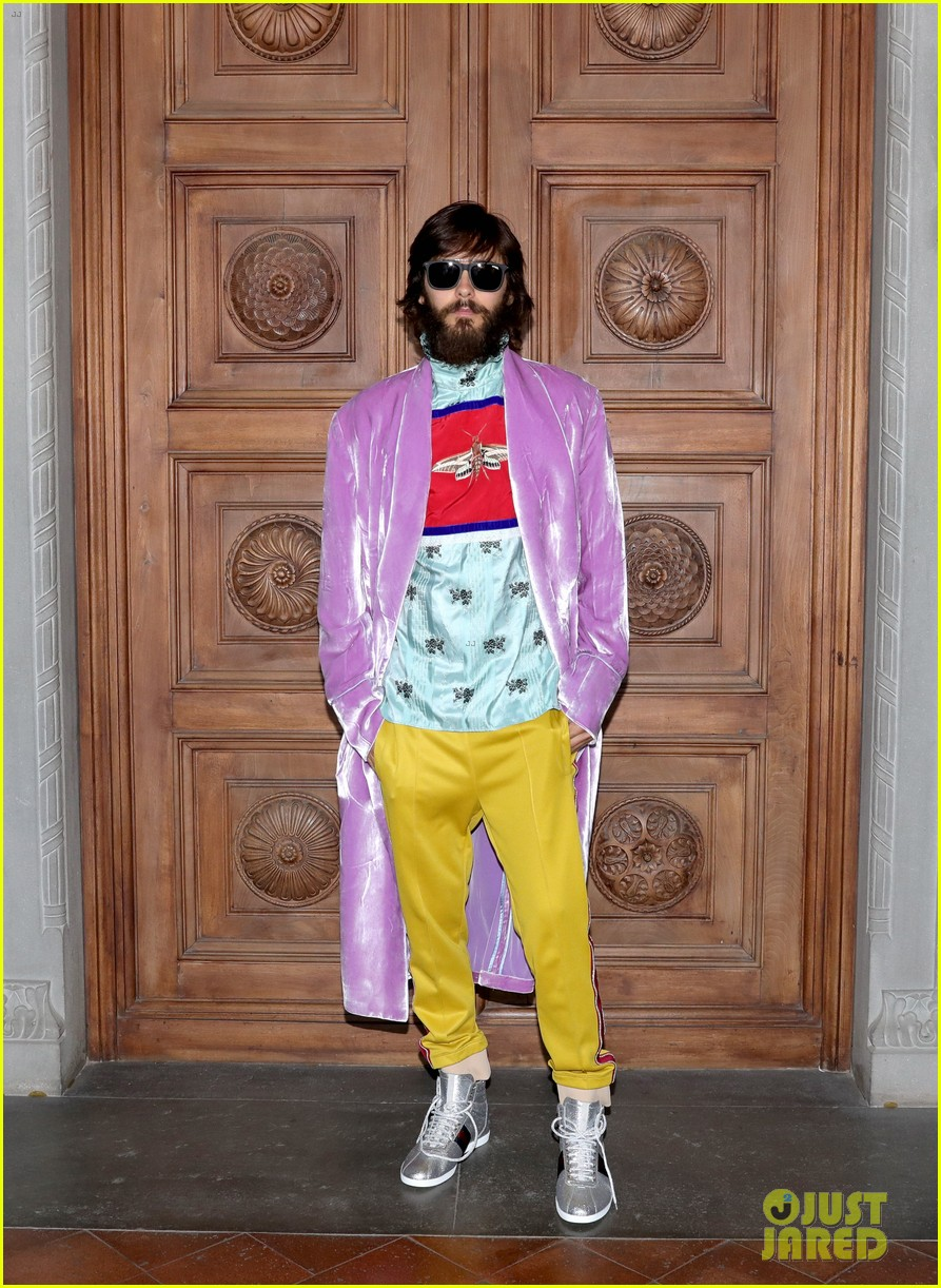 Bearded Jared Leto at Gucci show