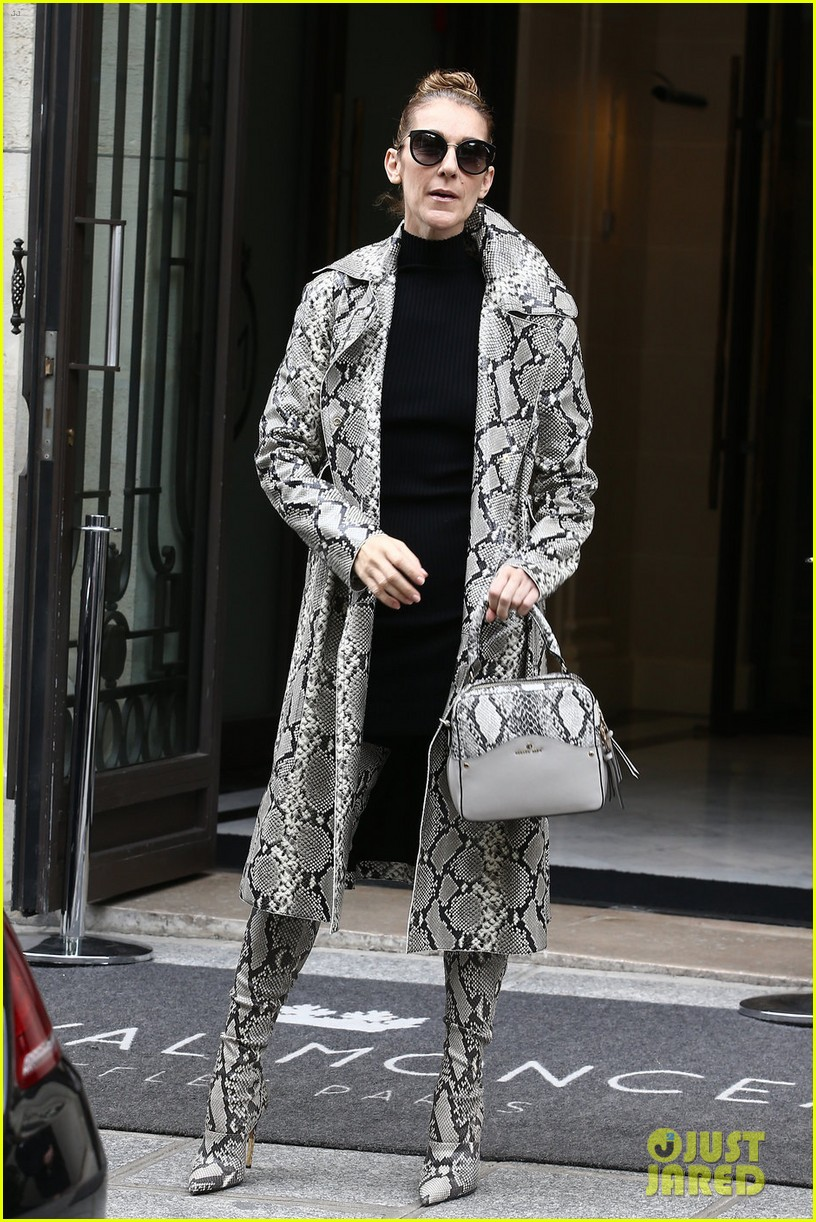 Celine Dion Wears Matching Snake Skin Coat Amp Boots In