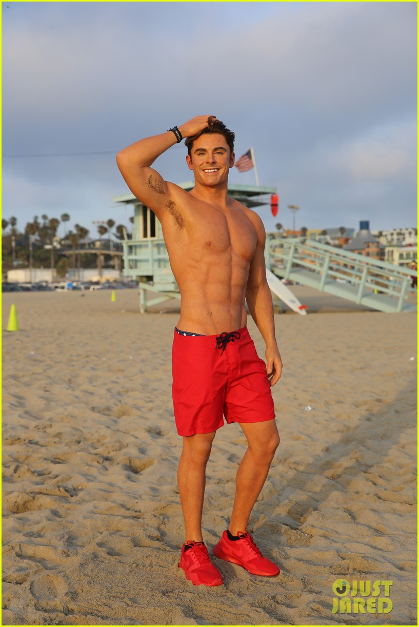 zac efron has a shirtless wax figure it visited the beach 02