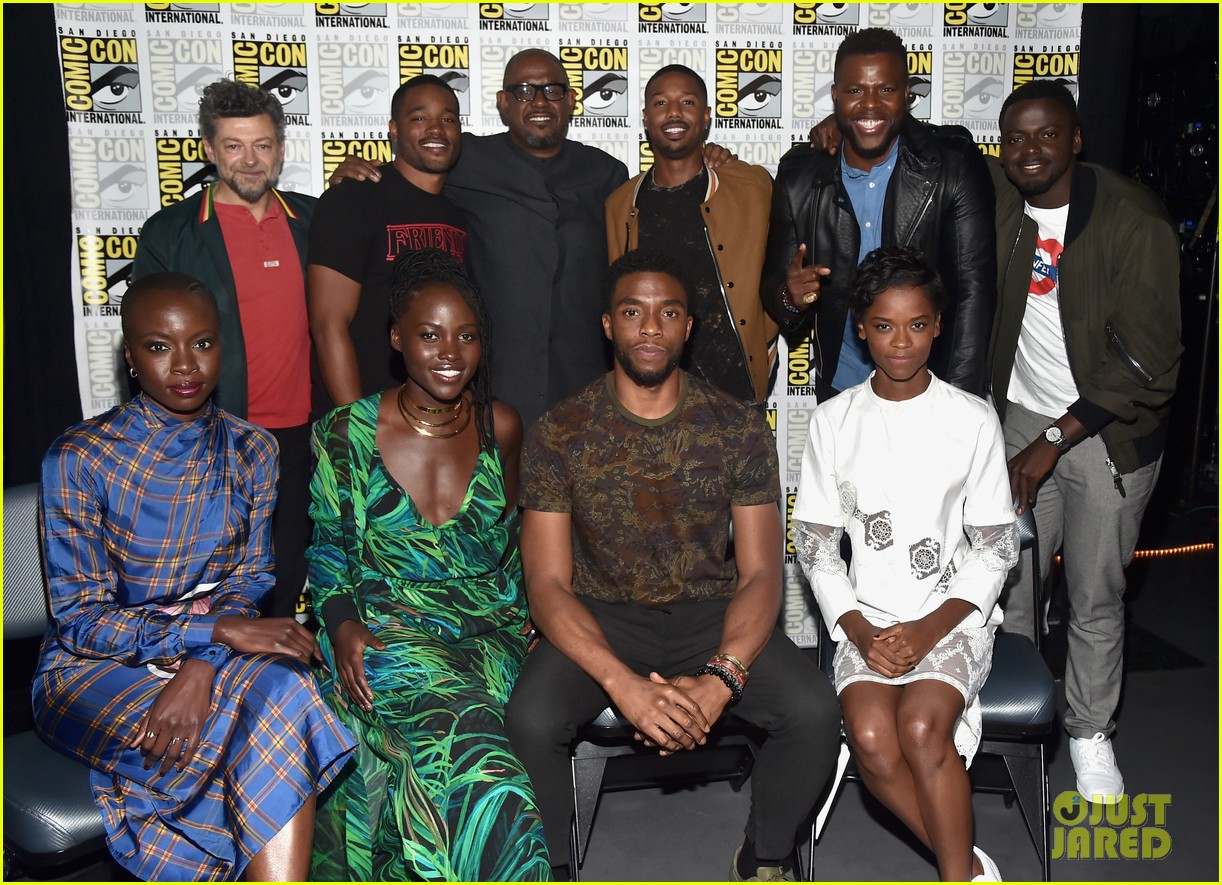 black panther cast debuts new movie poster at comic con 063932452