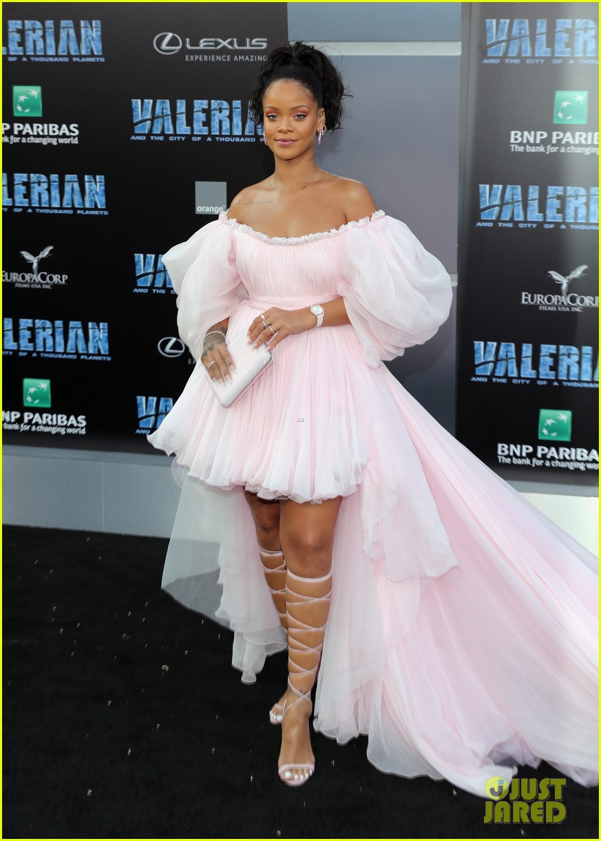 rihanna stuns in pink tulle gown at valerian premiere 133929660