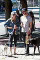 melissa benoist chris wood walk their dogs 01