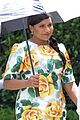 pregnant mindy kaling films mindy project in a floral dress 02