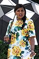 pregnant mindy kaling films mindy project in a floral dress 12