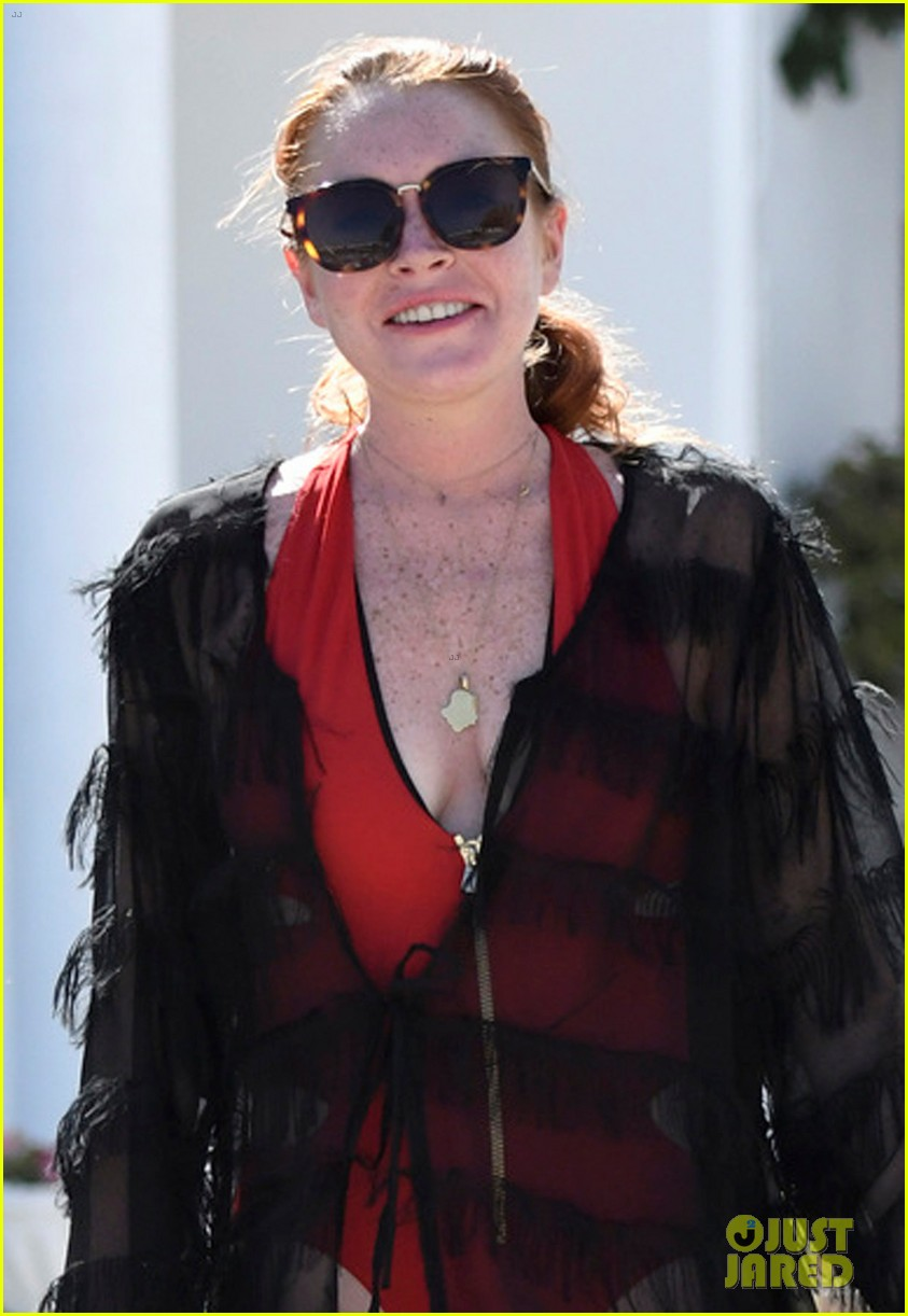 lindsay lohan sports red one piece in greece 023947588
