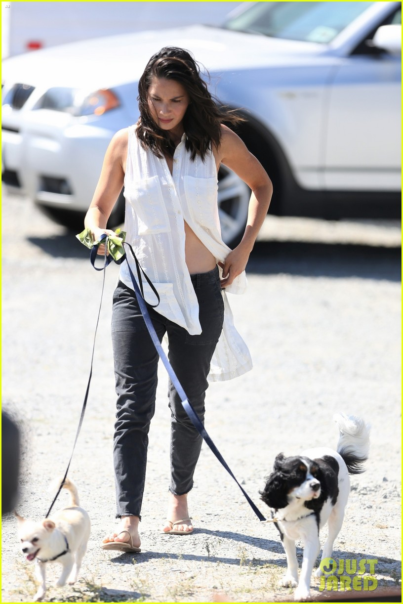 olivia munn takes her dogs for a walk on set of buddy games 053943736